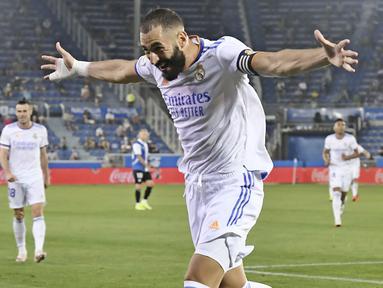 Real Madrid membuka musim baru di ajang Liga Spanyol 2021/2022 dengan hasil yang fantastis. (Foto: AP/Alvaro Barrientos)