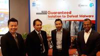 Peluncuran solusi ISLA dari Cyberinc dengan distibutor PT Blue Energy di Jakarta, Selasa (1/8/2017). Liputan6.com/ Agustinus Mario Damar