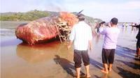 Bangkai paus yang dibakar menjadi ajang swafoto. (Liputan6.com/Ahmad Akbar Fua)