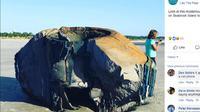 Sebuah benda misterius muncul di pesisir Pulau Seabrook, Negara Bagian South Carolina Amerika Serikat pada Kamis 5 Oktober 2018 (Facebook / Lowcountry Marine Mammal Network)