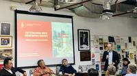 """Acara diskusi yang diselenggarakan oleh FPCI: """"Getting Real with Renewable Energy: Can Indonesia Become a Serious Green Superpower in the Next Five Years?"""", pada Rabu, (4/3/2020) di kawasan Jakarta Selatan. (Foto: Liputan6.com)"""