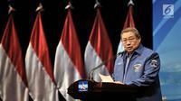Ketua Umum Partai Demokrat Susilo Bambang Yudhoyono menyampaikan pidato politiknya dalam acara HUT Ke-17 Partai Demokrat di Jakarta, Senin (17/9). Dalam pidato politik itu, SBY menceritakan perjalanan Partai Demokrat. (Merdeka.com/Iqbal S Nugroho)