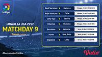 Jadwal dan Live Streaming La Liga Spanyol 2021/2022 Matchday 9 di Vidio. (Sumber : dok. vidio.com)