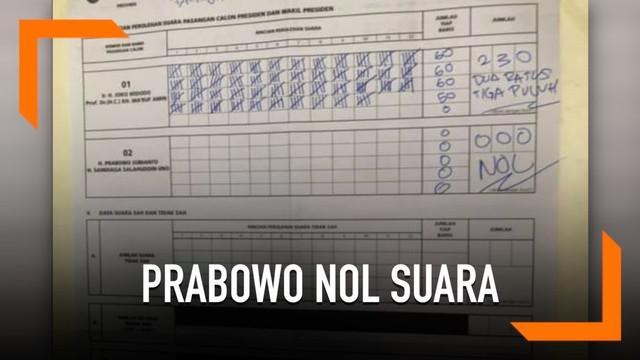 Warganet menunjukkan hasil pemilihan suara di lokasi masing-masing. Beberapa memperlihatkan Prabowo memperoleh nol suara di beberapa tempat ini.