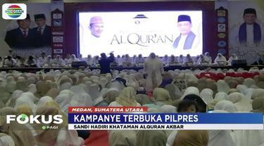 Sandiaga Uno hadiri kegiatan Khataman Akbar Alquran di Tiara Convention Center, Medan.