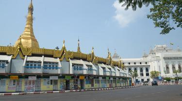 FOTO: Demonstran Myanmar Lakukan Aksi Mogok, Kota Yangon Sunyi Sepi