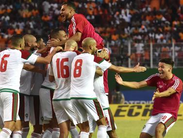 FOTO: Bungkam Pantai Gading, Maroko Lolos ke Piala Dunia