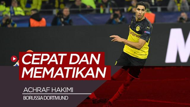 Berita video tentang pelari cepat dan mematikan dari Borussia Dortmund, Achraf Hakimi, yang baru saja menorehkan dua gol pada matchday 4 Liga Champions 2019-2020.