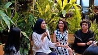 """Konferensi pers peluncuran buku Andien Aisyah berjudul """"Belahan Jantungku"""" di Oeang Cafe, M Bloc Space, Jakarta Selatan, 4 November 2019. (Liputan6.com/Asnida Riani)"""
