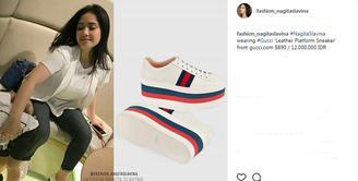 Pada suatu kesempatan, Nagita Slavina mengenakan sepatu merek Gucci berwarna putih. Siapa yang menyangka jika sepatu ini berharga Rp 12 juta. (foto: instagram.com/fashion_nagitaslavina)