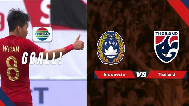 Berita video momen gol pemain Timnas Indonesia U-23, Witan Sulaiman, saat menghadapi Thailand di Merlion Cup 2019, Jumat (7/6/2019).