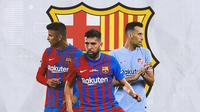 Barcelona - Gerard Pique, Jordi Alba, Sergio Busquets (Bola.com/Adreanus Titus)