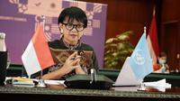 Menlu Retno saat memimpin sidang DK PBB kedua secara virtual pada Rabu, 12 Agustus 2020. (Dok: Kemlu RI)