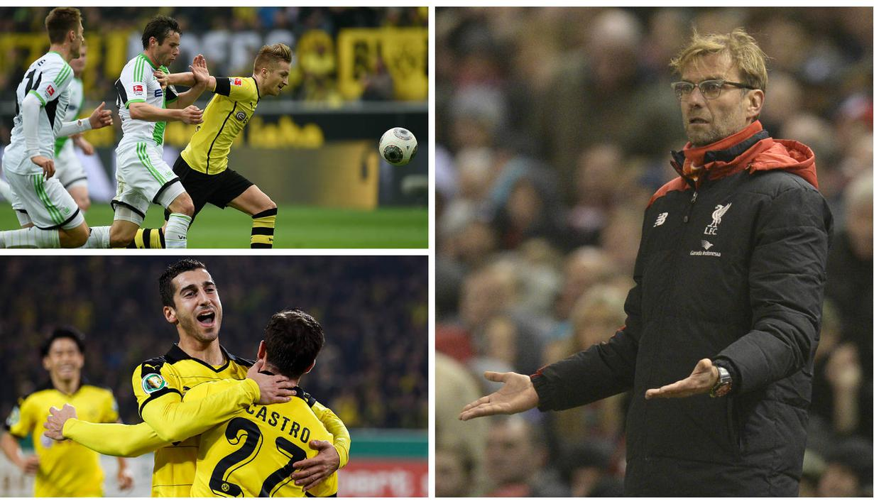 Pada bursa transfer Januari mendatang, pelatih Liverpool, Jurgen Klopp, dipercaya akan memboyong beberapa pemain dari klub lamanya, Dortmund. Berikut 5 pemain asal Dortmund yang kemungkinan mengikuti langkah sang pelatih. (AFP)