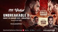 Live streaming One Championship: Unbreakable II, (29/1/2021) pukul 19.30 WIB dapat disaksikan melalui platform Vidio. (Dok. Vidio)