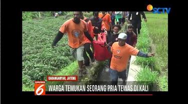 Seorang pria ditemukan tewas dekat pusaran kali Samin, Karanganyar, Jawa Tengah. Peristiwa tersebut sontak membuat geger warga sekitar.