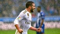 Dani Carvajal jadi penentu kemenangan Real Madrid atas Alaves. (AFP/Ander Gillenea)