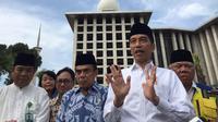 Presiden Jokowi usai meninjai revitalisasi Masjid Istiqlal, Jakarta Pusat, Jumat (7/2/2020). (Merdeka/Intan)