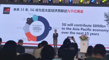 The Head of Greater China and Head of Asia, GSMA, Sinan Chen Bo dalam acara Huawei Asia-Pacific Innovation Day ke-5 di Chengdu, Tiongkok, Selasa (3/9/2019)