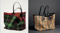 Motif tartan menjadi salah satu identitas brand luxury Burbery. kali ini motif tersebut mendominasi tas dengan model supersized reversible unisex tote yang bisa digunakam untuk pria dan juga wanita. (Liputan6.com/pool/Burberry)