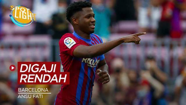 Berita video spotlight kali ini membahas tentang empat Barcelona dengan gaji terendah di Barcelona, salah satunya yakni  Ansu Fati.