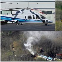 Berikut ini penampakan helikopter berjenis Sikorsky S-76B yang membawa legenda NBA, Kobe Bryant, saat kecelakaan di Calabasas, California. (Foto Kolase AP)