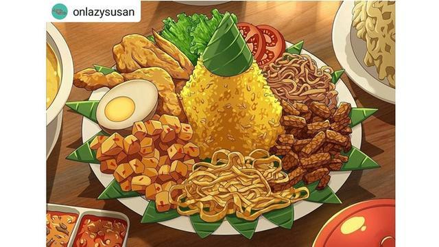 Viral 9 Ilustrasi Makanan Khas Indonesia Versi Animasi Ini Keren
