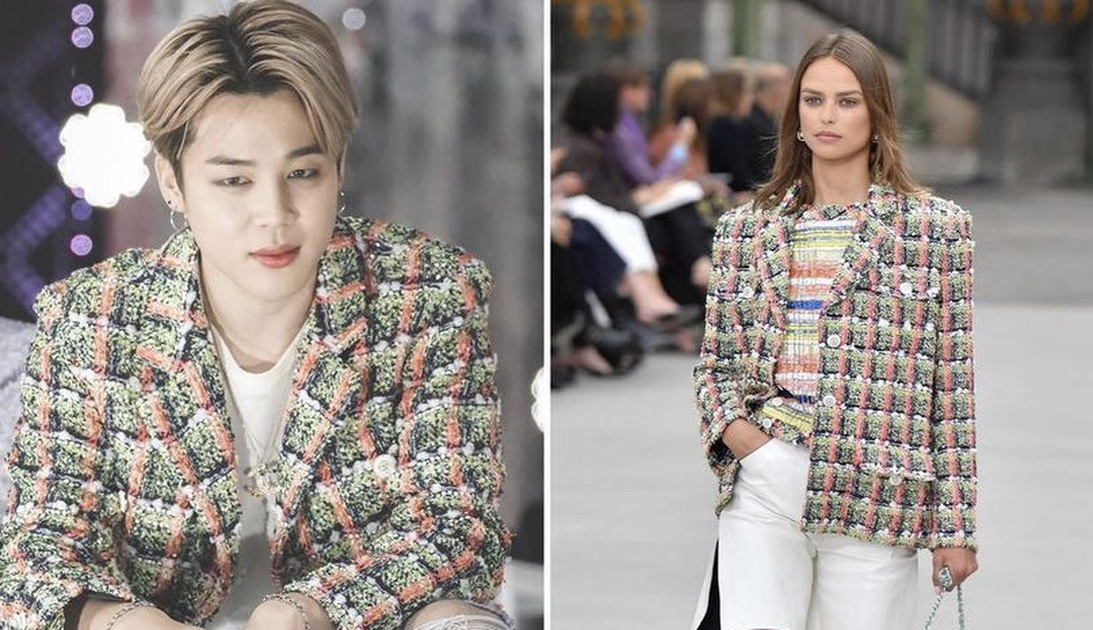 Jimin menganakan blazer bermotif dari brand Chanel yang dipadukan dengan denim (Instagram @btscloset1)