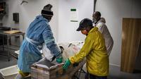 Para pengurus memindahkan jenazah pasien virus corona COVID-19 ke dalam peti mati di rumah duka AVBOB, Soweto, Afrika Selatan, 24 Juli 2020. (MARCO LONGARI/AFP)