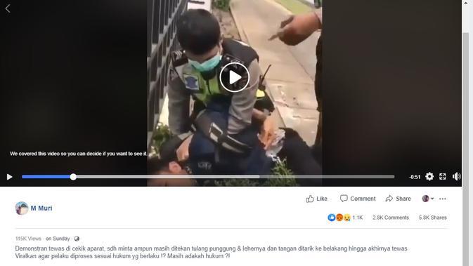 [Cek Fakta] Viral Video Demonstran 'Dicekik' Aparat, Ini Faktanya