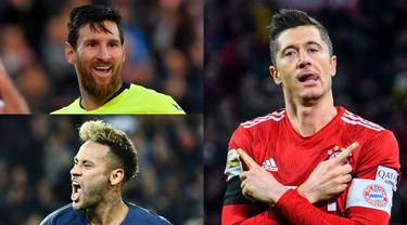 Meski belum bermain pada pekan ini di ajang Liga Champions namun Robert Lewandowski masih memuncaki daftar pencetak gol di Liga Champions musim 2018/19. Lewi hanya berselisih dua gol saja dari Lionel Messi. (Kolase Foto AFP)
