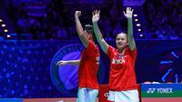 Praveen Jordan/Melati Daeva Oktavianti usai memastikan diri jadi juara All England 2020. (Istimewa)