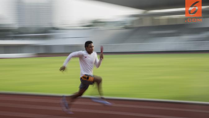 Pelari Indonesia, Lalu Zohri, berlari saat pemusatan latihan di Stadion Madya Senayan, Jakarta, Kamis (2/8/2018). Pemusatan latihan ini merupakan persiapan jelang Asian Games XVIII. (Bola.com/Vitalis Yogi Trisna)#source%3Dgooglier%2Ecom#https%3A%2F%2Fgooglier%2Ecom%2Fpage%2F%2F10000