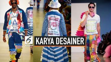 Maggie Hutauruk menampilkan busana unik di New York Fashion Week Spring / Summer 2020. Ia mendesain karung beras hingga karung terigu menjadi item fesyen.