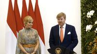 Raja Belanda Willem-Alexander dan Ratu Maxima ketika menyampaikan konferensi pers di Istana Bogor.(Twitter/@@koninklijkhuis)