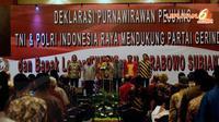 Ratusan purnawirawan pejuang TNI-Polri saat mendeklarasikan dukungan politiknya kepada Capres dari Partai Gerindra Prabowo Subianto (Liputan6.com/Helmi Fithriansyah)
