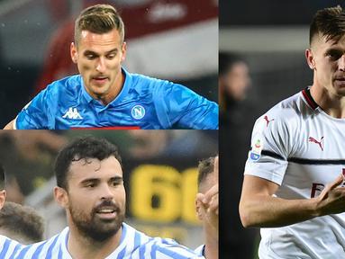 Penyerang anyar AC Milan, Krzysztof Piatek terus konsisten mencetak gol sejak kedatangan pemain 23 tahun tersebut ke San Siro. Raihan satu gol ke gawang Empoli membuanya menempel Cristiano Ronaldo di puncak. (Kolase Foto AFP)