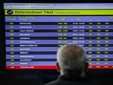 Calon penumpang melihat papan informasi ketersediaan tiket di Stasiun Senen, Jakarta, Senin (9/3/2020). Tiket kereta api reguler masa angkutan Lebaran mulai diburu calon penumpang. (Liputan6.com/Faizal Fanani)