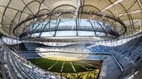 Suasana Stadion Volgograd Arena di Volgograd, Rusia, Rabu (20/9/2017). Stadion ini merupakan salah satu venue Piala Dunia 2018. (AFP/Mladen Antonov)
