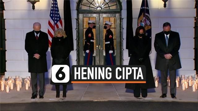 Gedung Putih Amerika Serikat menggelar proses mengheningkan cipta pada Senin (22/2) malam waktu setempat demi menghormati 500 ribu korban meninggal akibat Covid-19.