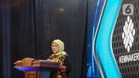Menaker Ida Fauziyah memberikan sambutan saat peluncuran Satu Data Ketenagakerjaan di Kantor Kemnaker, Jakarta, Kamis (5/11/2020).  Peluncuran Satu Data Ketenagakerjaan sesuai Peraturan Presiden Nomor 39 Tahun 2019 tentang Satu Data Indonesi.(Liputan6.com/Faizal Fanani)