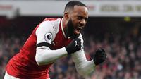 Penyerang Arsenal, Alexandre Lacazette menerima bayaran per minggu sebesar 120.000 pound sterling dan mengikat kontrak hingg 2022. (AFP/ Ben Stansall)