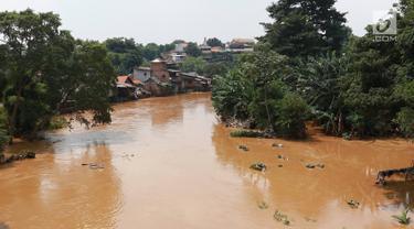 Penampakan Sungai Ciliwung yang Meluap di Pejaten Timur