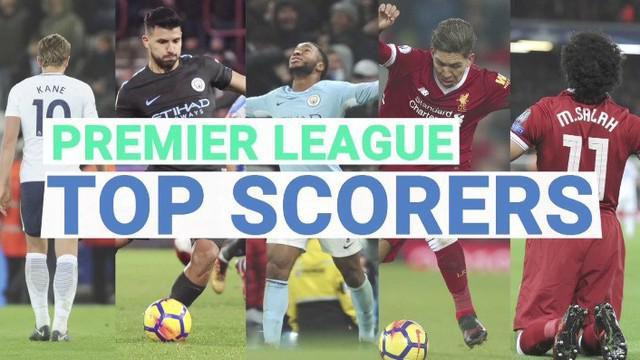 5 Top Skorer sementara Premier League 2017/2018 hingga pekan ke-23. Harry Kane masih di peringkat teratas.