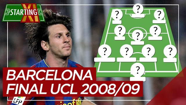 Berita motion grafis Starting XI Barcelona saat juara Liga Champions 2008/2009 di bawah naungan Joan Laporta, Lionel Messi paling mahal.