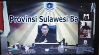 Juru Bicara Gugus Tugas Penanganan Covid-19 Sulawesi Barat Safaruddin Sanusi saat video conference terkait perkembangan kasus Covid-19 (Liputan6.com/Abdul Rajab Umar)