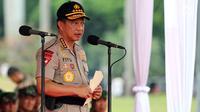 Kapolri Jenderal Tito Karnavian memberi sambutan saat memimpin Apel Kesiapan Natal, Tahun Baru dan Pemilu 2019, Jakarta, Jumat (30/11). Apel diikuti 50.000 personel dari AD, AL, AU, dan Polri. (Liputan6.com/Johan Tallo)