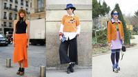 Inspirasi mengenakan pakaian bernuansa oranye.