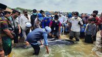 Gubernur Jatim Khofifah Indar Parawansa saat meninjau lokasi puas pilot terdampar di Selat Madura (foto Polsek konang untuk liputan6.com)