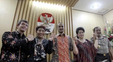 Sejumlah Menteri Kabinet Jokowi-JK menghadiri pemaparan hasil survei integritas sektor publik yang dilakukan KPK, Jakarta, Selasa (18/11/2014). (Liputan6.com/Miftahul Hayat)